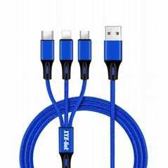 Amazon Best Selling Promotional 3 in 1 Fast Charging USB Cable for Mobile Phone