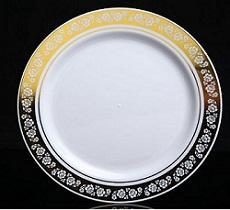 Round Plastic Bowl With Gold Rim