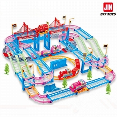 C2 New railway toys of qumitoys train track electric car Baby educational plasti