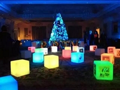 Plastic outdoor led light cube stool chair