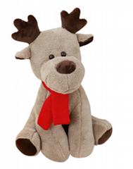 Plush Stuffed Big horned Plush Reindeer toy with red scarf for Christmas 65cm &2