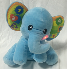 customized plush elephant with electronic music box & button on the ears 10 inch