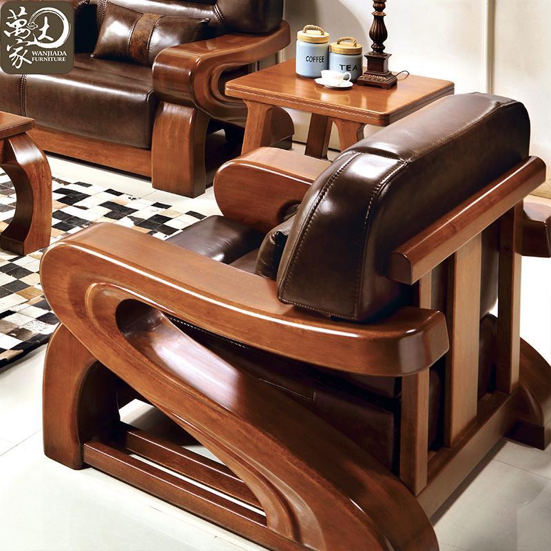 组合胡桃木实木茶几 沙发组合组合套装 2