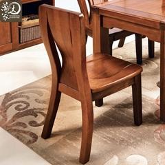 万家达胡桃木全实木餐桌餐椅组合