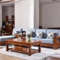 组合胡桃木实木茶几全实木沙发组合