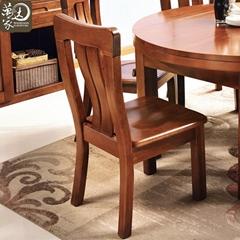中式現代胡桃木餐桌組合圓形實木餐桌