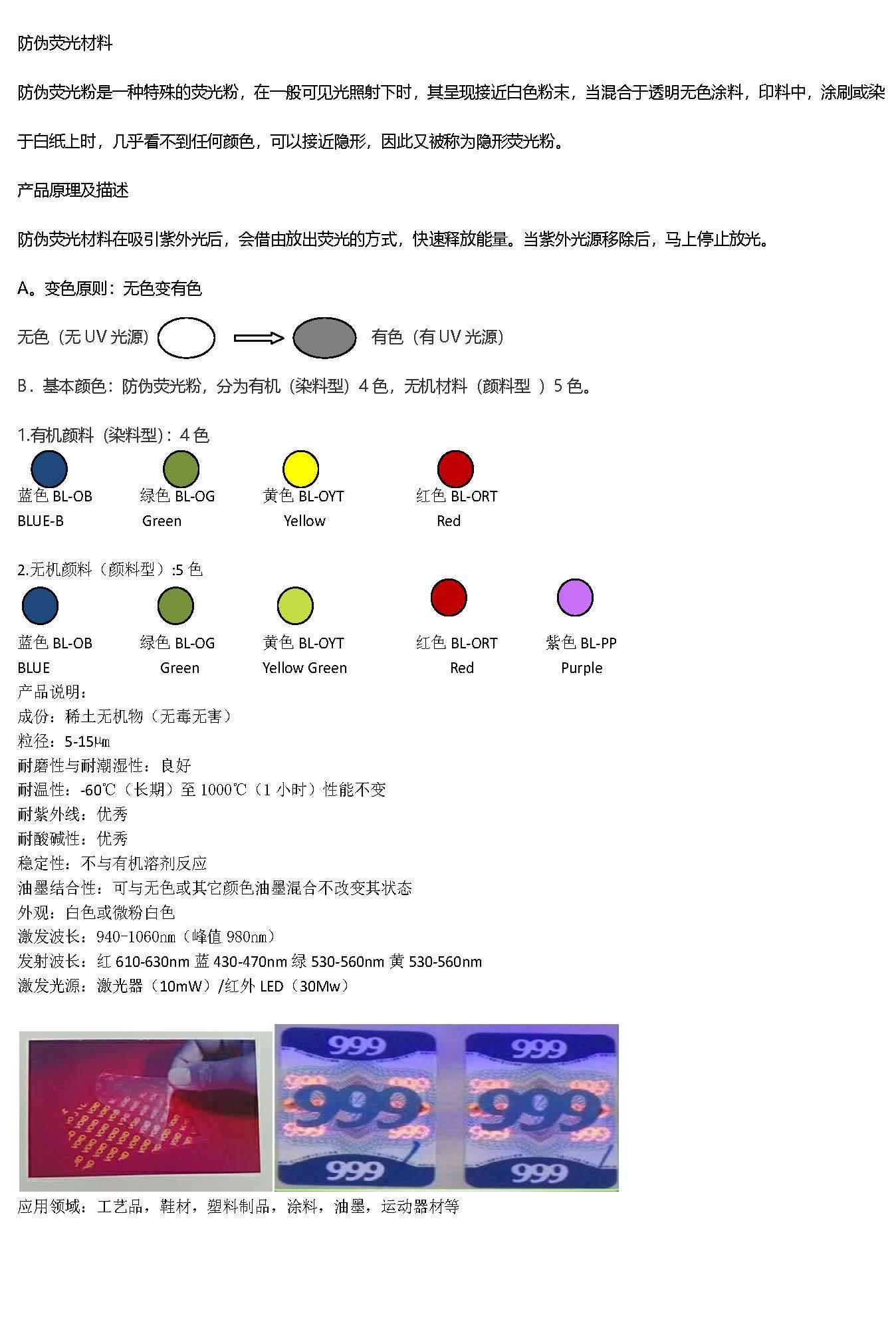 防偽熒光材料 2