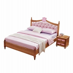 502 wood color girl's bed soft double bedroom furniture