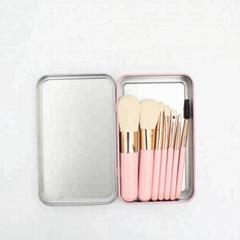 China factory privated label Wood Handle Nylon hair iron box makeup brushes set
