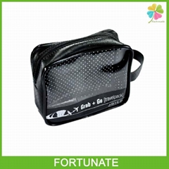 BLACK VINYL PVC TRAVEL PACK ZIPPER COSMETIC BAG FOR AIRLINES