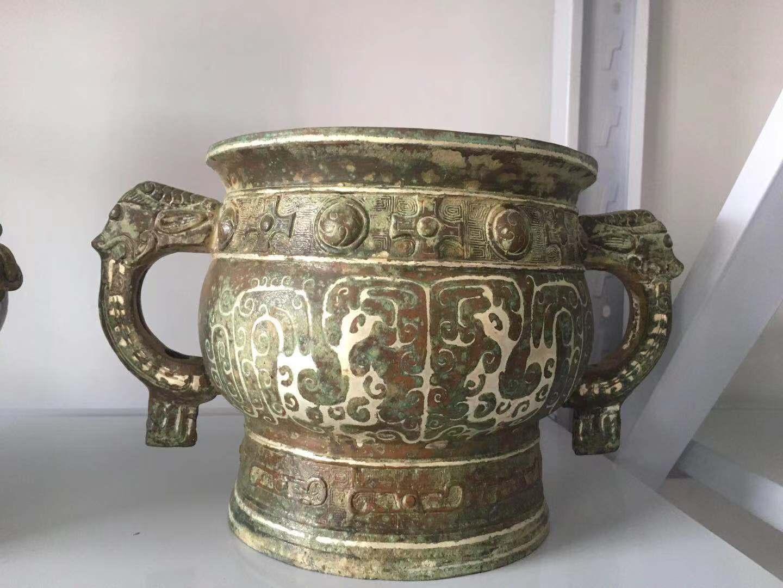 青铜厂商簋鎏银工艺河南文物修复复制定制 3