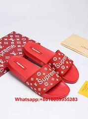 Hot Supreme LV sandals Supreme X Louis Vuitton Slippers Supreme LV flat Slippers