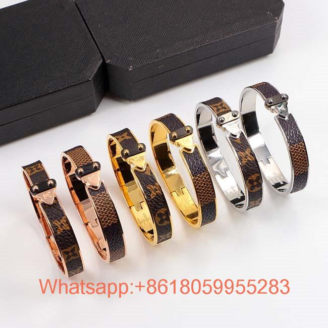 Newest Wholesale Louis Vuitton jewelry Lv Shield Studded Leather Bracelet