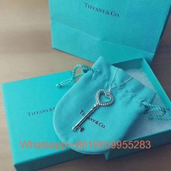 2019 Wholesale Full Diamond Set Blue Love Heart Key Necklace tiffany jewelry