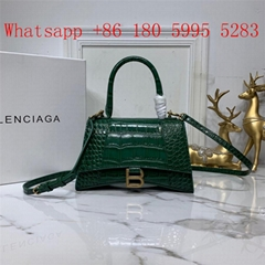 Multicolor Balenciaga hourglass crocodile pattern glossy hourglass bag handbag