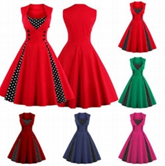 Womens Retro 1950s Rockabilly Polka Dot Christmas Prom Party Swing Dress Vintage