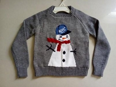 high qaulity Chirdren's jacquard cute pullover knit with LED lights