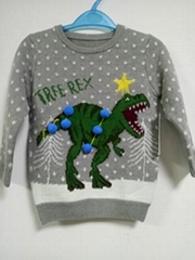 China new fashion Boy's jacquard pullover knit with computer embroider