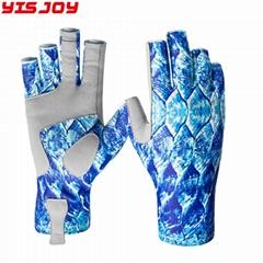 定制优质半指划艇手套SPF50+ UV太阳防晒钓鱼手套