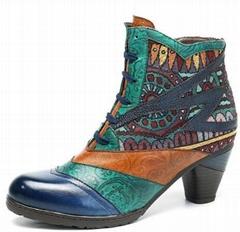 SOCOFY Bohemian Splicing Pattern Block Zipper Ankle Leather Boots Shoe - 9 Dark