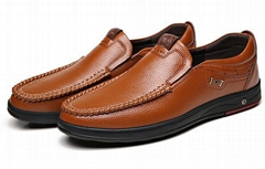 Comfy Casual Business Genuine Leather Slip On Soft Moc Toe Oxfords for Men