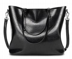 Women Oil Leather Tote Handbags Vintage Shoulder Bags Capacity Big Shopping Bags
