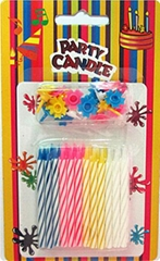 Multi Colored Decorative Spiral Taper Striped Birthday Candles