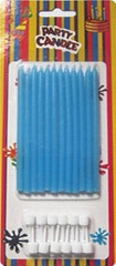 Fancy Long Thin Birthday Candles Blue Smooth Party Cakes Anniversary