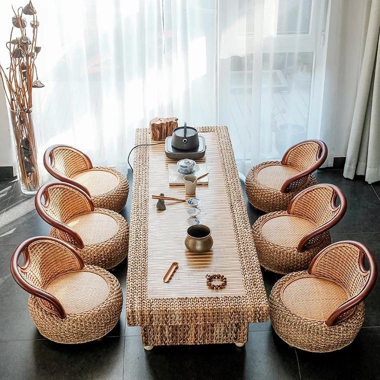 Rattan Kungfu tea table and chair combination 1