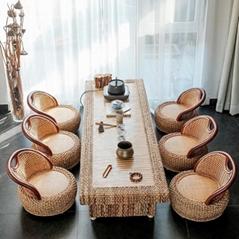 Rattan Kungfu tea table and chair combination