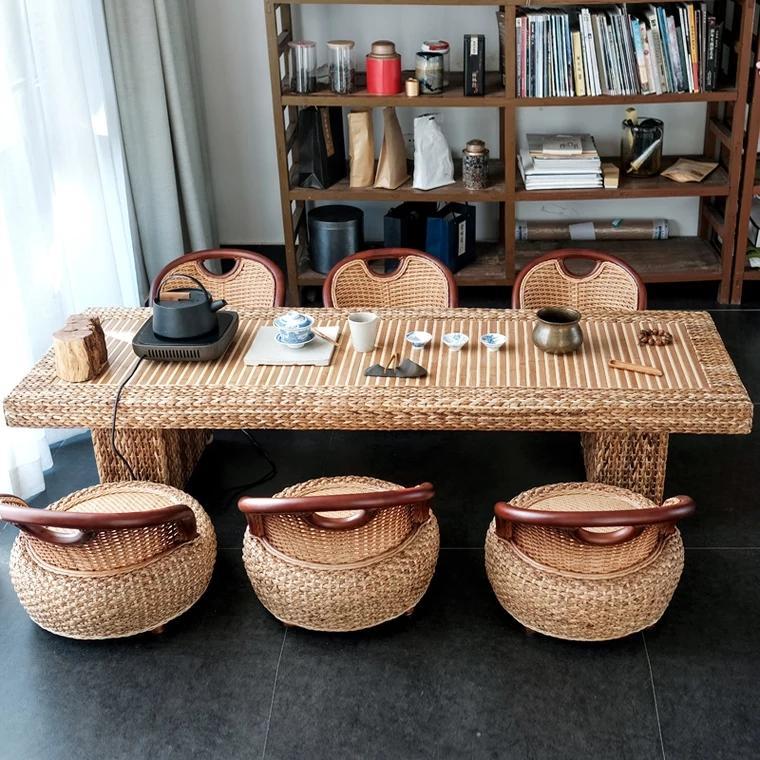 Rattan Kungfu tea table and chair combination 2