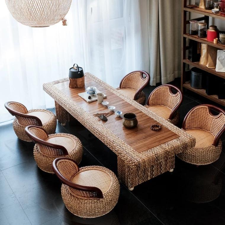 Rattan Kungfu tea table and chair combination 3