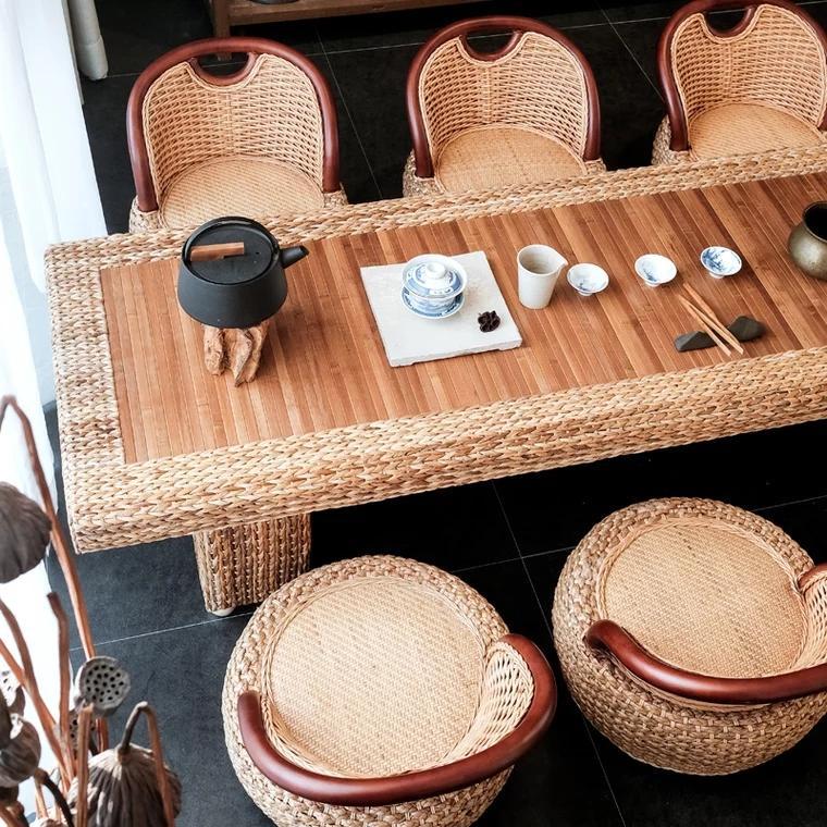 Rattan Kungfu tea table and chair combination 4