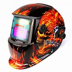 Dabu Solar Powered Flaming Skull Welding Helmet Auto Darkening Professional Hood