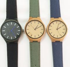 PU leather watch band bamboo watch