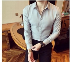 White shirt men's short sleeve casual 7 points summer solid color slim business
