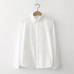 Early spring small clear art solid color white shirt female students professiona