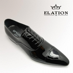 Simple Black Shiny Leather Mens Party Shoes