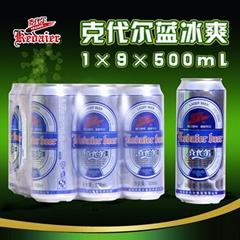 8°P山東德州克代爾藍冰爽啤酒1×9×500ml