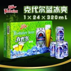 8°P山東德州克代爾綠箱藍冰爽啤酒1×24×320ml