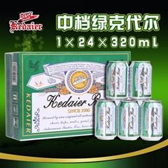 8°P山東德州克代爾中檔綠克代爾啤酒1×24×320ml