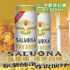 11°P山东德州克代尔啤酒萨罗娜原浆白啤1×9×500ml