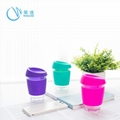 Fancy Glass Water Cup with Silicone Rubber Sleeve, Sports Water Cups 4