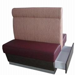 香港餐厅带储物柜抽屉防火皮沙发订制厂家供应