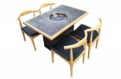 各種實木火鍋桌訂做工廠食飯臺,飯檯可開多孔