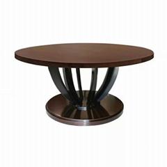 香港餐廳實木圓桌中西餐廳桌子訂製