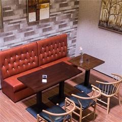 香港茶餐廳防火皮革軟包梳化定做兩座位梳化耐燃傢俬