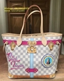 LV tote bag Louis Vuitton Summer Trunks Damier Azur NEVERFULL Bag + POCHETTE