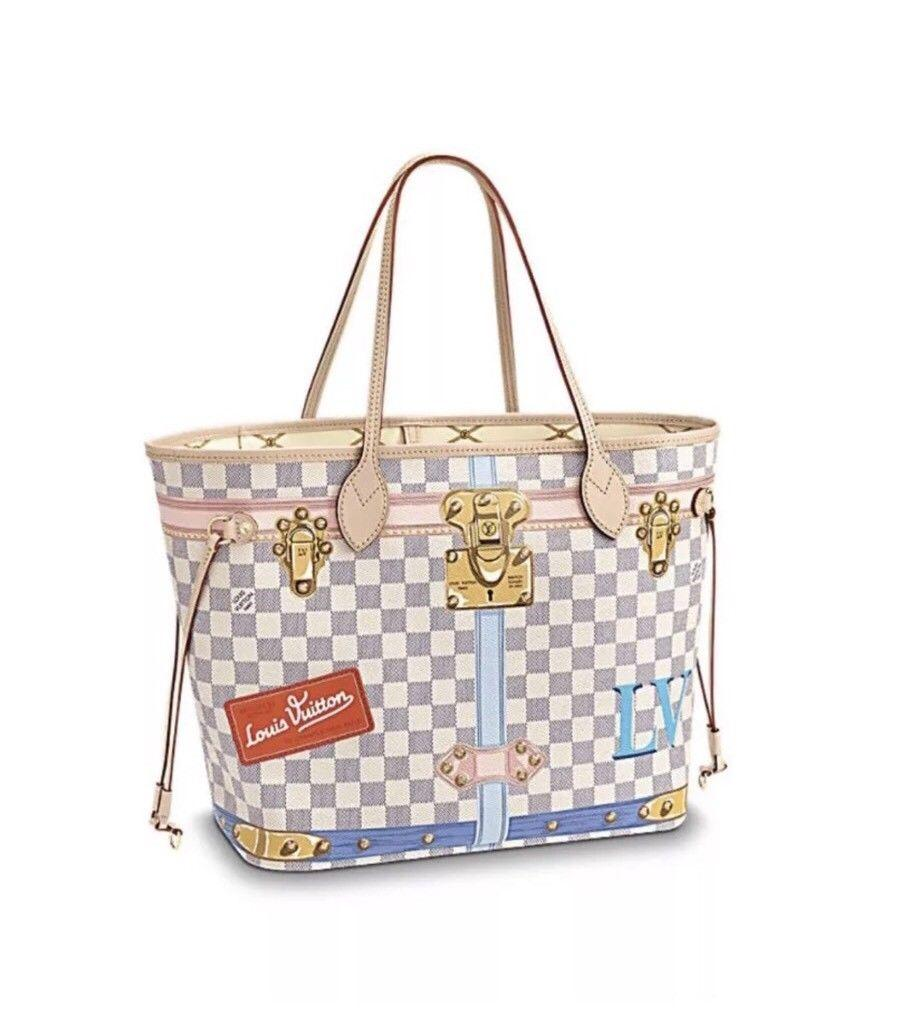 LOUIS VUITTON Limited Edition Neverfull MM Summer Trunk 2018 Damier Azur lv bags