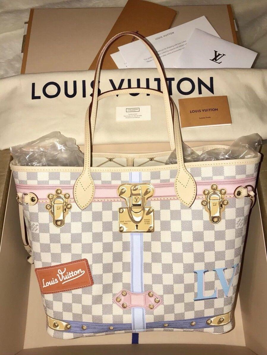 603ce1827c16 LOUIS VUITTON Limited Edition Neverfull MM Summer Trunk 2018 Damier Azur lv  bags ...